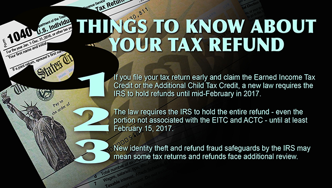 Some early filers may not recieve tax refund until after Feb. 15